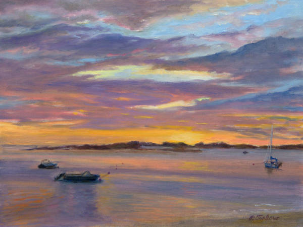 Landscape Poster featuring the painting Wades Beach Sunset by Phyllis Tarlow