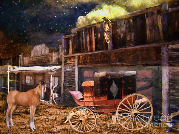 Wagon Repair Poster featuring the painting Wagon Repair by L Wright