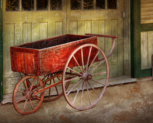 Country Poster featuring the photograph Wagon - That Old Red Wagon by Mike Savad