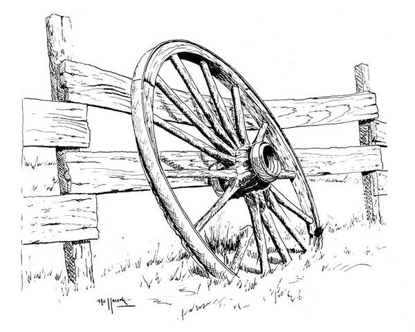 Wagon Wheel Poster featuring the painting Wagon Wheel by Bob Hallmark