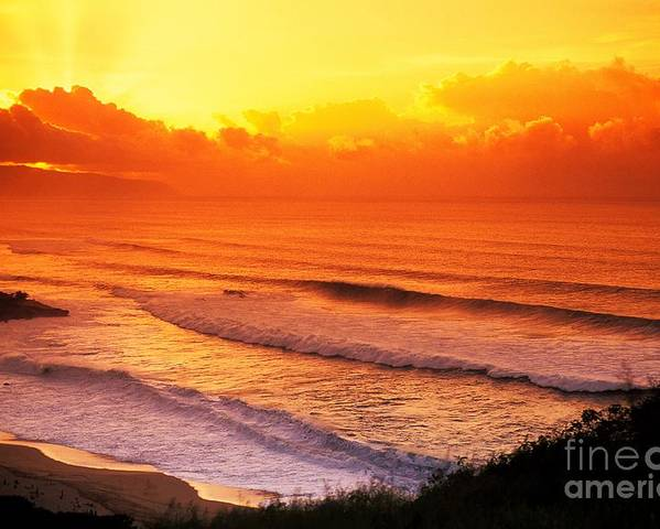 Afternoon Poster featuring the photograph Waimea Bay Sunset by Vince Cavataio - Printscapes