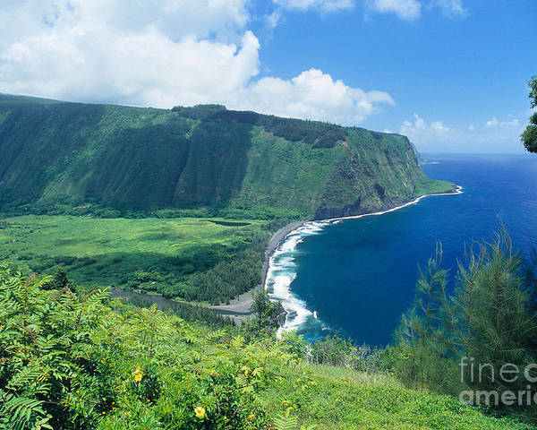 Aerial Poster featuring the photograph Waipio Valley Lookou by Greg Vaughn - Printscapes