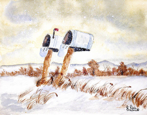 Snow Poster featuring the painting Waiting For The Mail by Rich Stedman