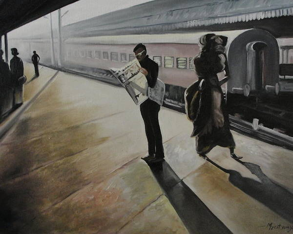 Paintings Poster featuring the painting Waiting For The Train by Mrutyunjaya Dash