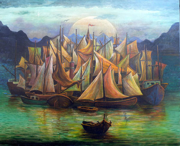 Seascape Harbour Sails Boats Maritime Poster featuring the painting Waiting For The Wind by Peter Rodulfo