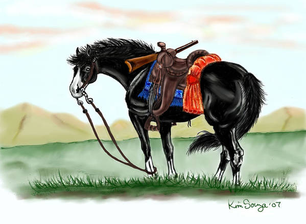 Horses Poster featuring the digital art Waiting On The Boss by Kim Souza