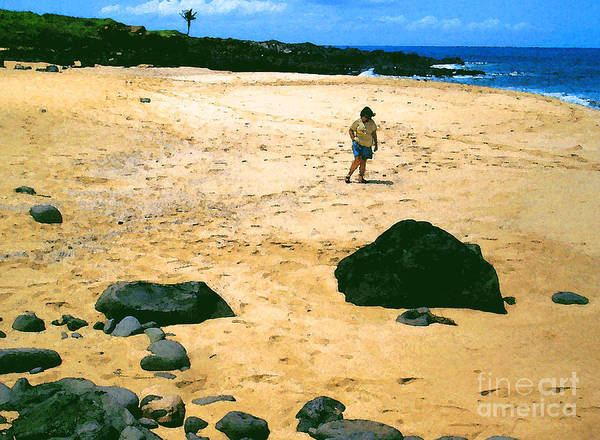 Pohaku Beach Poster featuring the photograph Walk By The Sea by James Temple