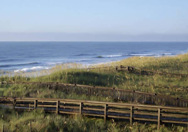 Ocean Poster featuring the digital art Walk To The Beach by Samuel Bondurant