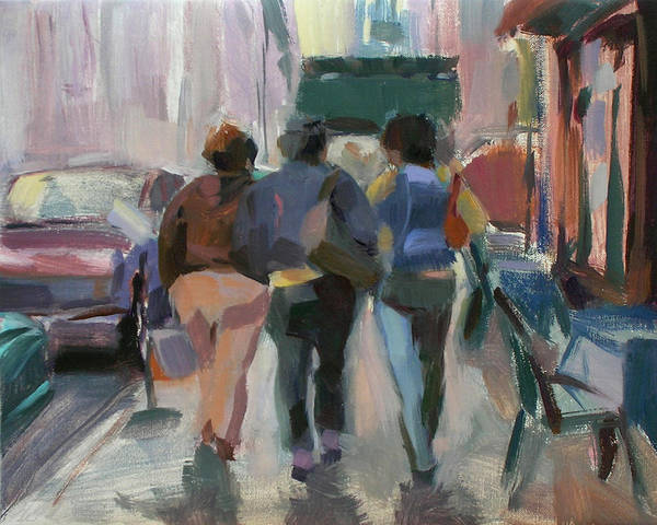 Figurative Poster featuring the painting Walking In Chelsea by Merle Keller