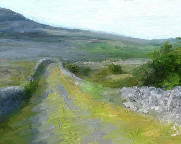 County Clare Poster featuring the digital art Walking the Burren by Scott Waters