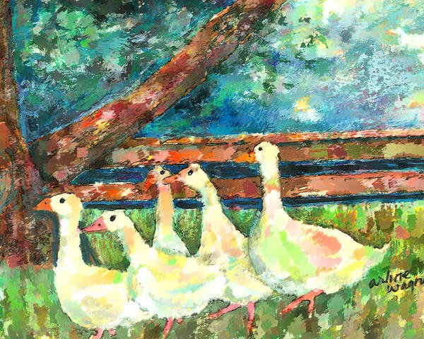 Ducks Poster featuring the mixed media Walking Through The Grass by Arline Wagner