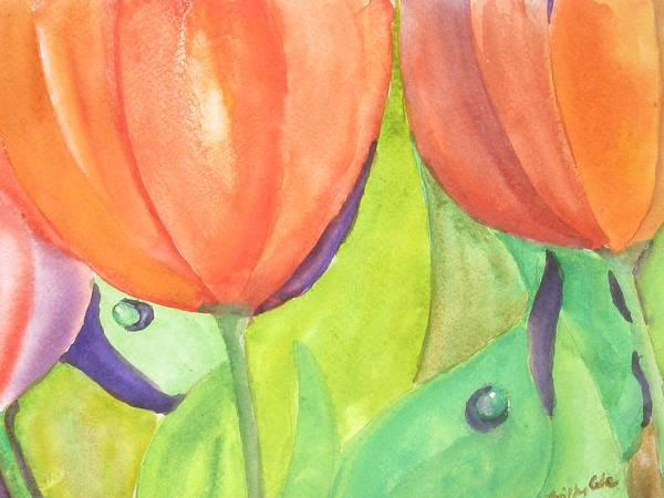 Tulips Poster featuring the painting Wanderings by Trilby Cole