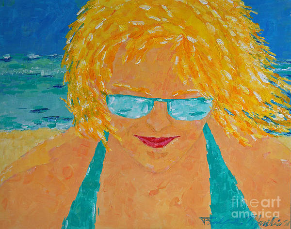 Beach Art Poster featuring the painting Warm Summer Breeze by Art Mantia