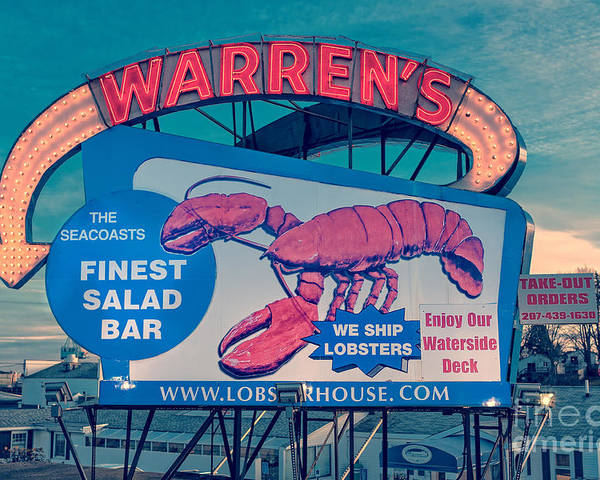 Boat Poster featuring the photograph Warrens Lobster House Neon Sign Kittery Maine by Edward Fielding