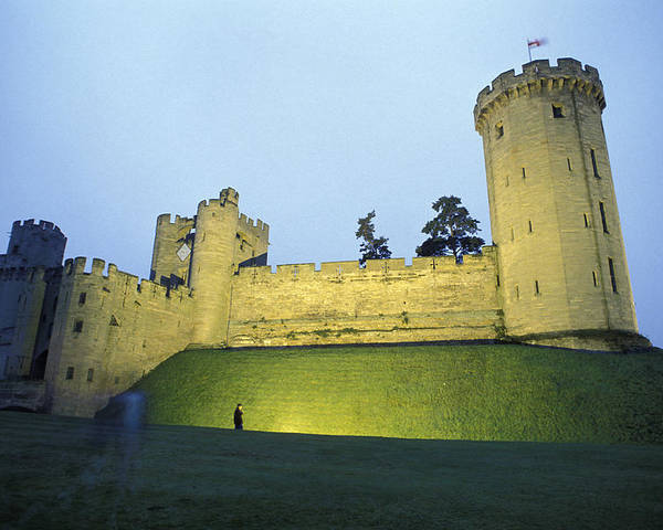 Warwick Poster featuring the photograph Warwick Castle At Dawn With A Man by Richard Nowitz