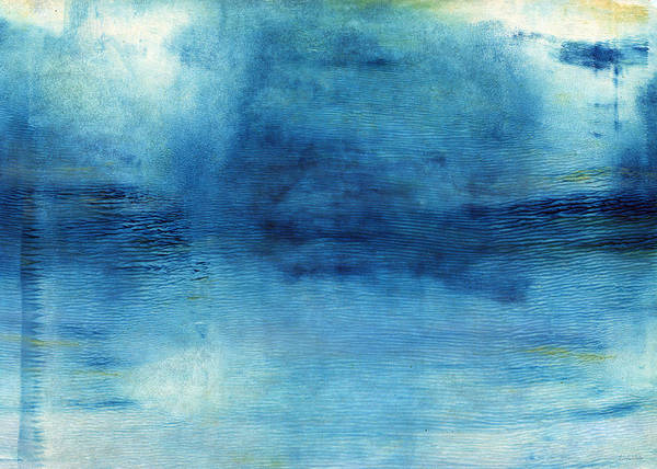 Blue Poster featuring the painting Wash Away- Abstract Art by Linda Woods by Linda Woods