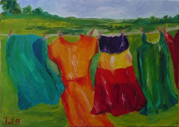 Wash Clothes Dance Poster featuring the painting Wash Dance by Irit Bourla