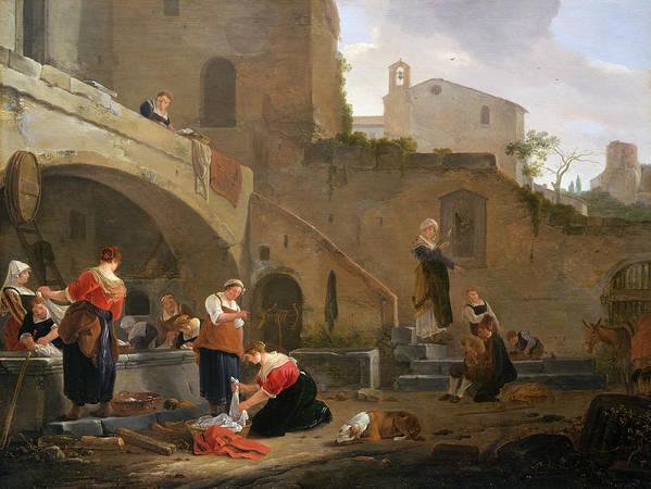 Washerwomen Poster featuring the painting Washerwomen By A Roman Fountain by Thomas Wyck