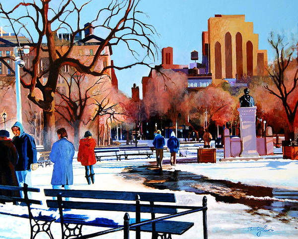 Washington Square Poster featuring the painting Washington Square by John Tartaglione