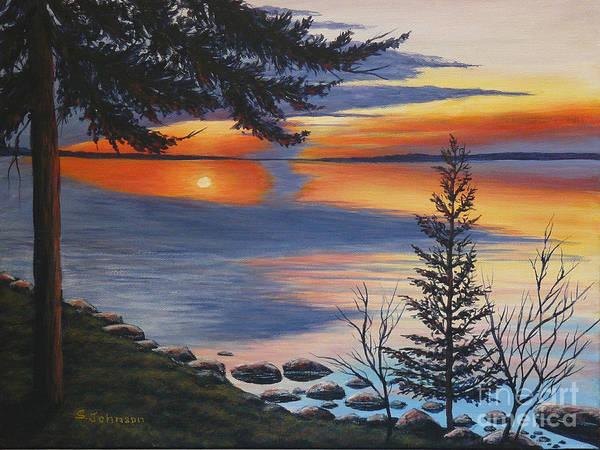 Waskesiu Poster featuring the painting Waskesiu Sunset by Sheryn Johnson