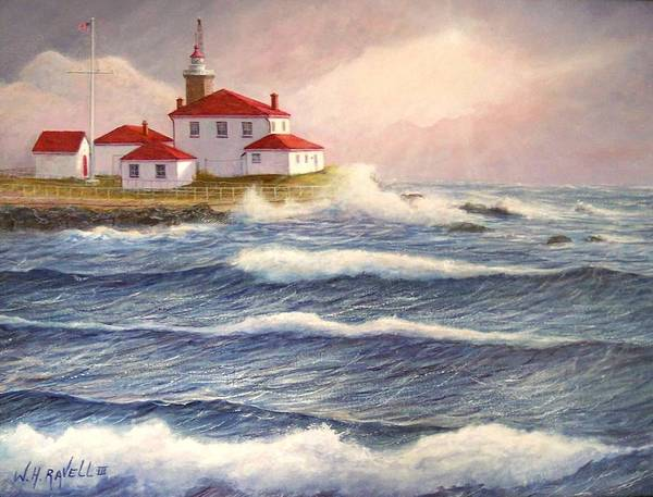 Seascape Poster featuring the painting Watch Hill Lighthouse In Breaking Sun by William H RaVell III
