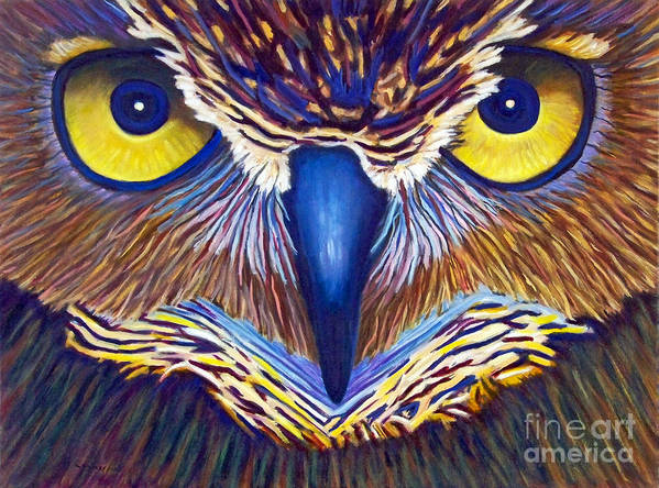 Owl Poster featuring the painting Watching by Brian Commerford