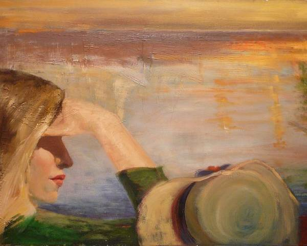 Side View Of A Girl Poster featuring the painting Watching The Sails by Irena Jablonski