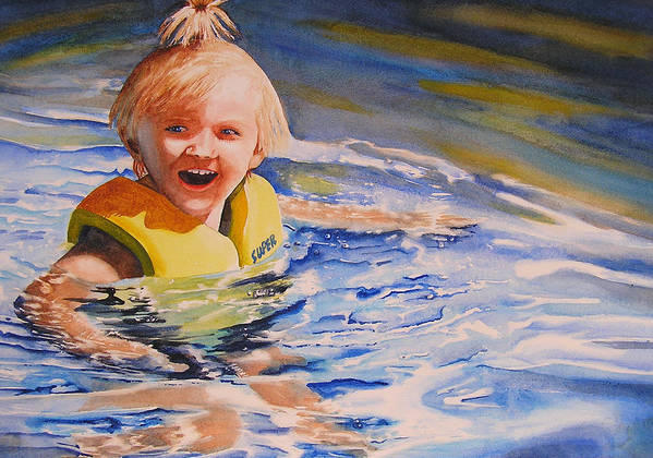 Swimming Poster featuring the painting Water Baby by Karen Stark