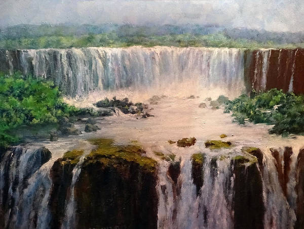 Water Poster featuring the painting Water Fall by Howard Scherer