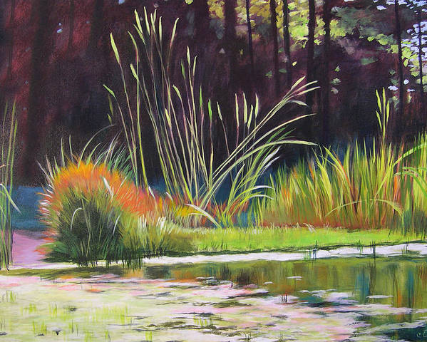 Acrylic Poster featuring the painting Water Garden Landscape by Melody Cleary