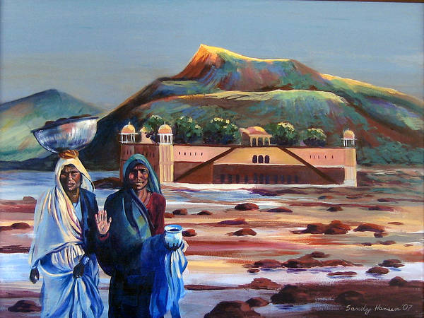 Water Palace Poster featuring the painting Water Palace In A Drought by Art Nomad Sandra Hansen