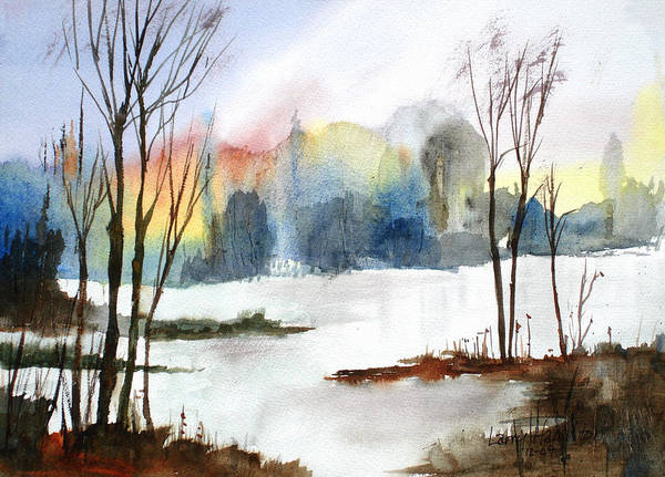 Watercolor Poster featuring the painting Water Sunset Study by Larry Hamilton