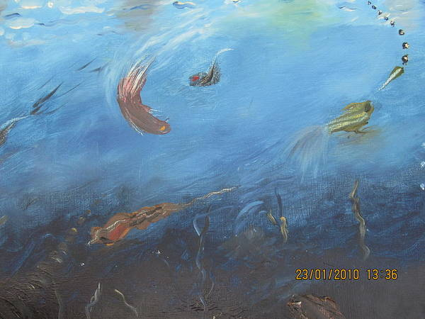 Water World Poster featuring the painting Water World by Anusha Garg