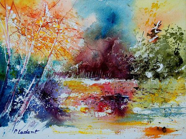 Pond Poster featuring the painting Watercolor 140908 by Pol Ledent
