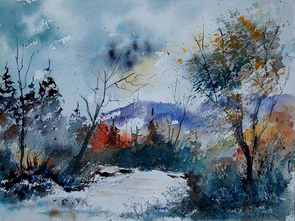 Landscape Poster featuring the painting Watercolor 802120 by Pol Ledent