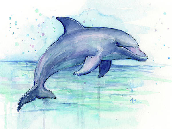 Dolphin Poster featuring the painting Watercolor Dolphin Painting - Facing Right by Olga Shvartsur
