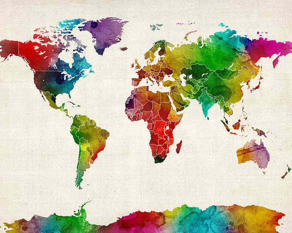 World Map Poster featuring the digital art Watercolor Map Of The World Map by Michael Tompsett