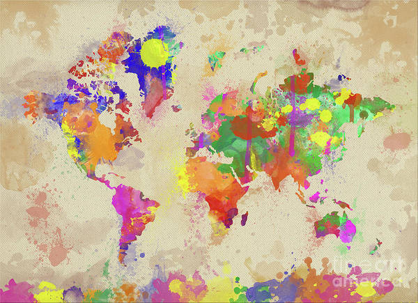 Watercolor world map on old canvas poster by zaira dzhaubaeva map poster featuring the digital art watercolor world map on old canvas by zaira dzhaubaeva gumiabroncs Choice Image