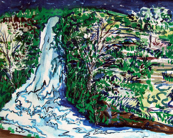 Waterfall Poster featuring the painting Waterfall by Mindy Newman