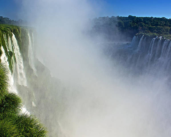 Waterfalls On Both Sides Of The River At Devil's Throat In Iguazu Falls National Park Poster featuring the photograph Waterfalls On Both Sides Of The River At Devil's Throat In Iguazu Falls National Park-argentina  by Ruth Hager
