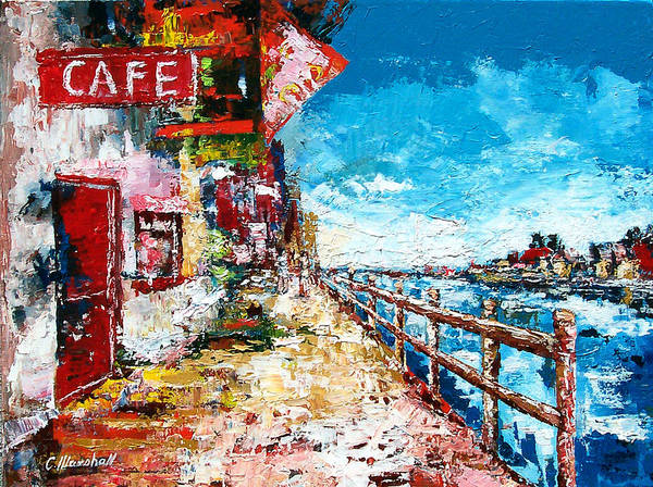 Art Poster featuring the painting Waterfront Cafe by Claude Marshall