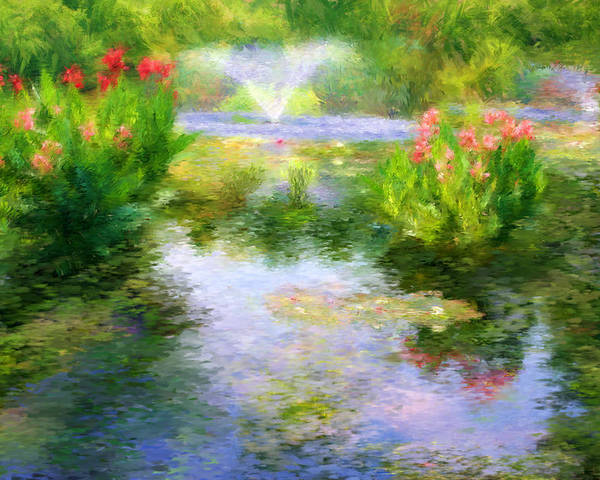 Aquatic Poster featuring the digital art Watergarden In Monet Style by Crystal Garner