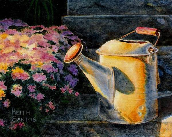 Watering Can Poster featuring the painting Watering Time by Keith Gantos