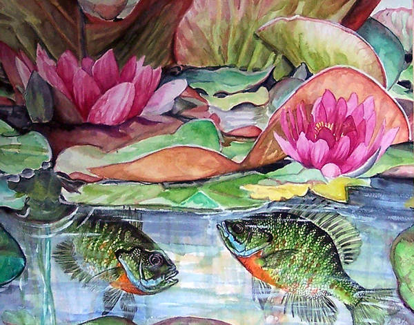 Waterlillies Poster featuring the print Waterlillies And Blue Giles by Bette Gray