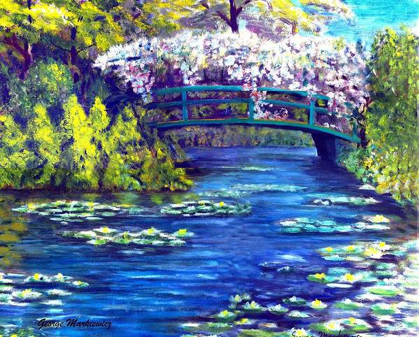 Landscape Poster featuring the print Waterlilly Bridge by George Markiewicz