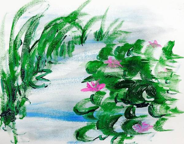 Poster featuring the painting Waterlily Pond by Hae Kim