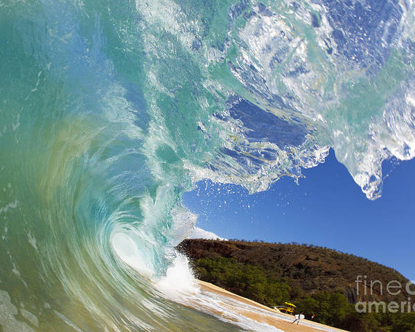 Aqua Poster featuring the photograph Wave Breaking by MakenaStockMedia - Printscapes