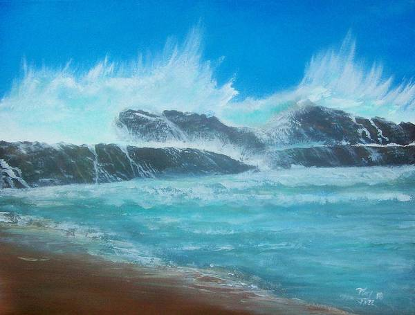 Seascape Poster featuring the painting Wave Fury by Tony Rodriguez