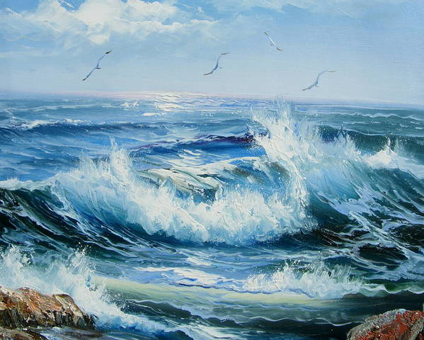 Seascape Poster featuring the painting Wave Goodbye by Imagine Art Works Studio