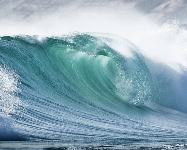 Horizontal Poster featuring the photograph Wave In Pristine Ocean by John White Photos